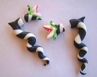 Sandworm BeetleJuice Faux Gauge Earring- Creepy- Monster- Dune- Halloween