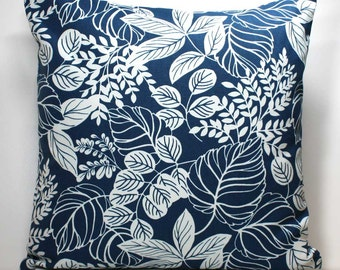 18 x 18 inch Decorative Throw Pillow Cover - Off White Leaves on Navy Blue - Invisible Zipper Closure - Fabric on Both Sides