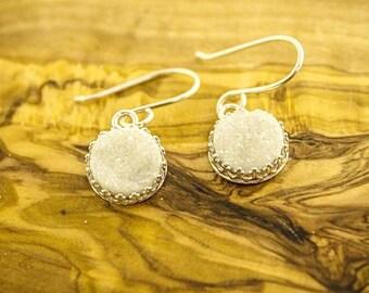 White Druzy Earrings, Druzy Earrings, Druzy Quartz Earrings, Druzy Quartz Jewelry, White Druzy, Drusy Earrings, Drusy Quartz,
