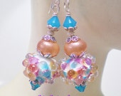 Pastel Bumpy Bead  LAmpwork Earrings in Rose,Blue and Peach.Pink, Blue and Peach Bumpy Bead Earrings w/ Sparkly Peach Rondelles