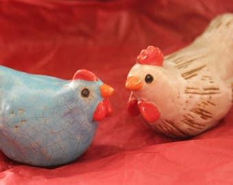 Vintage Clay Hen & Rooster Figures