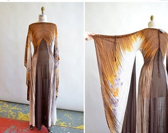 30% OFF storewide // Vintage 1970s made in ITALY chiffon dress with HUGE angel sleeves