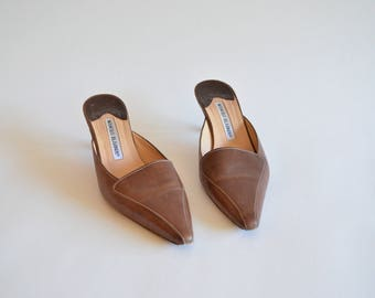 Vintage MANOLO BLAHNIK leather mules / 8
