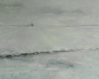 Dutch windmill in wide snow winter landscape original oil painting
