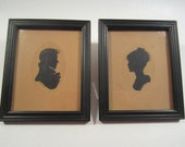 Vintage Pair of Silhouettes Small Framed Man Woman Portraits M.C.H. Hand Painted