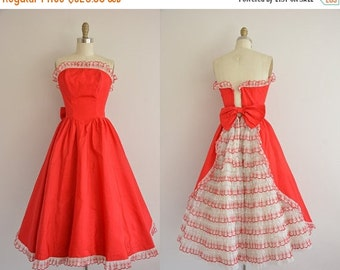 25% off SHOP SALE... vintage 1950s dress / 50s party dress / 1950s red ruffle dress
