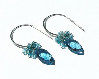 Peacock Teal Blue Quartz Dangle Earrings / Aquamarine Gemstone/ Topaz Gemstone / Sterling Silver / Wire Wrapped / Gifts for Her / OOAK