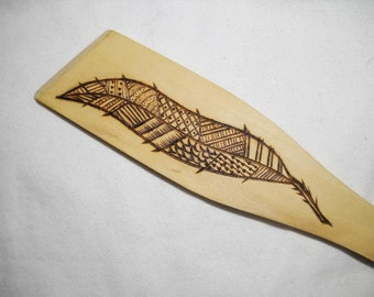 Flat Wooden Spoon with a wood burned Feather Pyrography