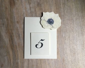 Table Number- white Flower Anemone - Weddings, showers, events, parties, holidays