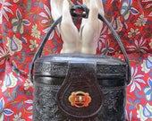 RESERVED Don't Buy -- Vintage Box Purse, Hand Tooled Leather, Mexico, Mod Handbag, 50s 60s