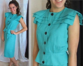 Vintage 80s Skirt Suit, Sleeveless Top, Peplum, Big Buttons, Avant Garde, Midi, 40s Style, Leslie Fay
