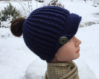Messy Bun Hat, Newsboy Style, Ladies Newsboy Hat, Navy Ladies Hat,  Super Soft Thick Winter Hat, Pony Tail Hat, Acrylic, Choose your colour