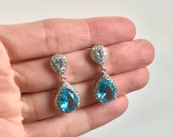 Aqua Bridal Earrings Wedding Jewelry Faceted Cubic Zirconia Tear Drop Crystal Earrings Vintage Inspired Wedding Earrings Bridesmaids Jewelry