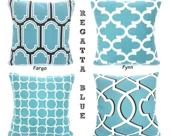 SALE Blue Pillow Covers, Decorative Throw Pillows, Cushions, Regatta Blue Black White, Couch Bed Sofa Pillows, Mix & Match ALL SIZES