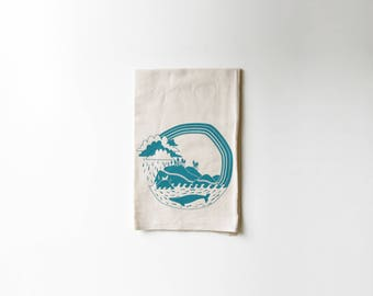 Pacific Coast Explorer Flour Sack Tea Towel | Highway | Whale | Seals | Camping | Fish | Redwoods | Printed | Cotton Dish Rag | Housewarming