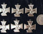 6 Pcs Vintage Surfers Cross Pendants 6 Pieces of Chrome Plated Copper 1 Inch x 1 Inch Surfers Iron Cross Findings Stampings Jewelry Supplies