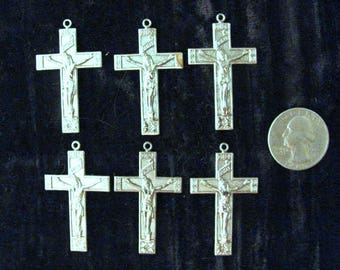 6 Pcs Crucifix Jewelry Stampings 6 Pieces Vintage Silver Plated Brass Religious Cross DIY Jewelry Making Supply Findings