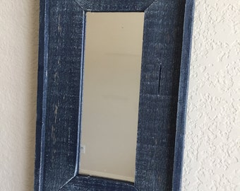 Reclaimed Weathered Wood Mirror - Blue