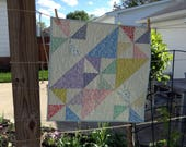 """QUILTED PINWHEELS TABLEMAT, 24"""" x 24"""", Pastel Quilt, Scrappy Quilt, Quilted Table Linens, Traditional Patchwork, Farmhouse Decor,  Handmade"""