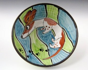 Ceramic Pottery Bowl - Pied Dachshund Wiener Pet Dog -  Blue Green - Clay Bowl - Majolica Bowl - Handmade Serving Bowl - Brown White Dog