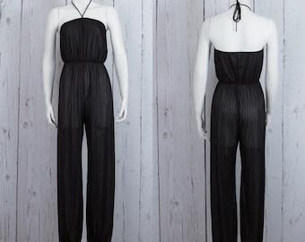 70s womens jumpsuit Vintage 1970s halter jumpsuit | black