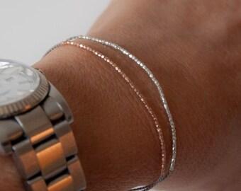 SALE items ship March 1st Delicate beaed friendship bracelet, dainty beads, wish bracelet with clasp