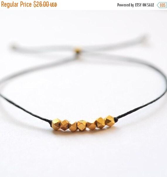 SALE Wish bracelet - gold with Black Irish linen cord thread friendship bracelet