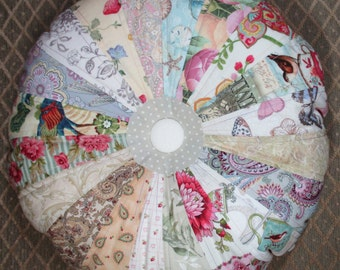 "Round Sprocket Pillow 15"" Shabby Chic Pastel Cottage Quilted Pillow Quiltsy Handmade"