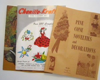 3 vintage craft books - Chenille Show Offs, Chenille-Kraft, and Pinecone Novelties and Decorations,  circa 1950s to 1970s