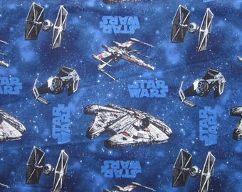 fabric - STAR WARS fabric, Millenium Falcon, X-Wing Fighter, Tie Fighter - Eugene Textiles, 2012 Lucasfilm Ltd Style 7310008
