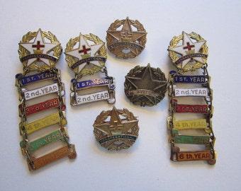 vintage Congregational pins, Christian faith badges - year badges, Sunday School pins - D.C Cook Elgin