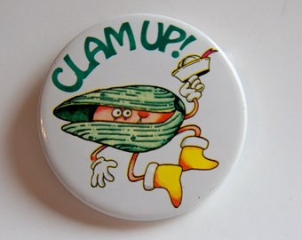 Vintage Clam Up Pin Back Button, Vintage Sailor Button, Fisherman Pin, Clam Diggers Button, Metal Sailor Pin Back, Vintage Advertising
