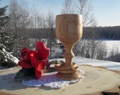 RESERVED Legendary Knotty Wood Love Goblet with Captive Stem Rings