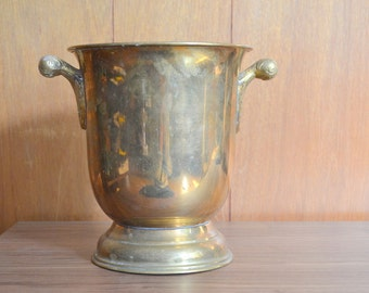 vintage large brass midcentury ice bucket / hollywood regency home decor / new years 2017