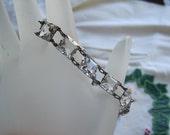 Vintage Sterling Czech Glass Open Back Bracelet Bride Bridal Wedding Christmas Holidays