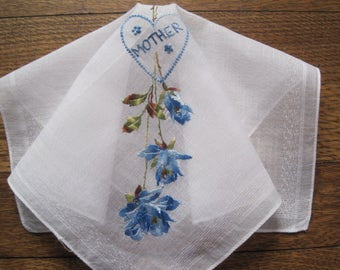 "Vintage Mother's Day Embroidered ""MOTHER"" Hankie Floral Flowers Mother of the Bride Wedding Hanky Bridal."