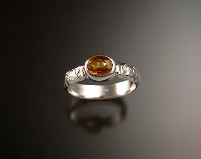 Orange Garnet and Sterling Silver Natural Mandarin Garnet victorian floral pattern band with bezel set stone ring made to order in your size