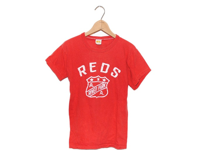 Vintage Reds River Park A.A. 100% Cotton Russell Athletic Crewneck T-Shirt Made in USA - Medium (OS-TS-18)