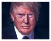 President Donald Trump portrait painting 11x14 inch limited addition fine art print