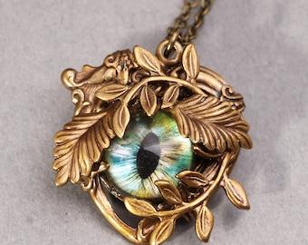 Heart Necklace Steampunk Necklace Eye Necklace Heart