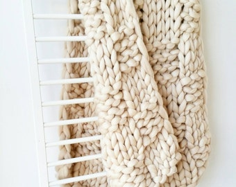 Chunky Knit Blanket Luxury Bed runner Giant Cream Arm Knit Throw Merino Wool Rug
