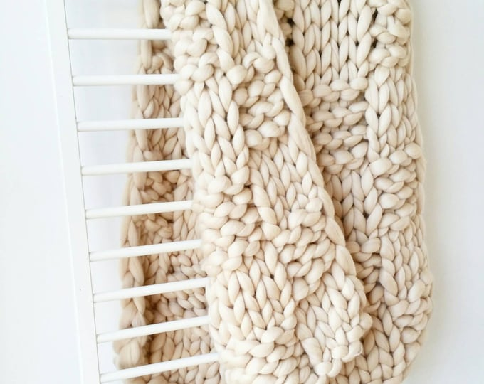 Featured listing image: Chunky Knit Blanket Luxury Bed runner Giant Cream Arm Knit Throw Merino Wool Rug