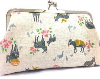 clutch purse - donkey - 8 inch metal frame clutch purse - large purse- floral - donkey - natural linen - clutch- kisslock - clutch bag