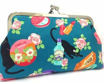 clutch purse - cat - 8 inch metal frame clutch purse - large purse- cat - floral - japanese - aqua-  kisslock - coin purse - clutch bag