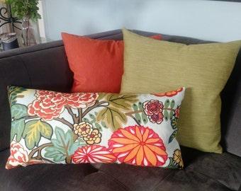 """Chiang Mai Dragon Coordinate Pillows 17"""" Avocado or Orange"""