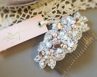 RESERVED- CUSTOM- Crystal and Pearl Bridal Comb, Earrings and Bracelet