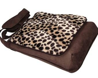 Original Bag with Cheetah Flap, One Of A Kind Messenger Bag, Crossbody Bag, Eco Suede Vegan Bag, Flap Cover Bag, Adjustable Strap
