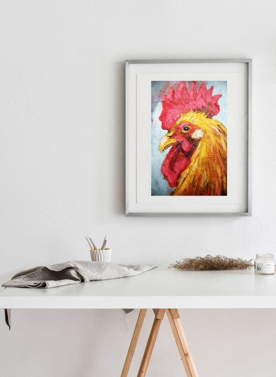 Red Rooster Matte Print - Various sizes  | Rooster  Print, Rooster Artwork, Rooster Wall Art, Kitchen Decor, Farm Wall Art