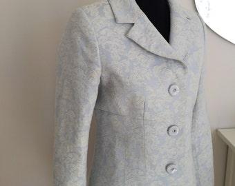 vintage brocade coat /floral print jacket /white silver ice blue /boho classic elegant/bride winter wedding/spring coat / melania  LANE