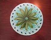 Antique Majolica Plate of Lily of the Valley by Erphila